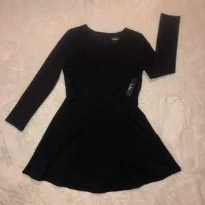 Black Fit and Flare Long Sleeve Dress